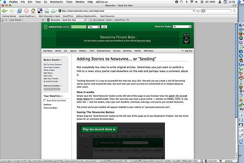 Newsvine képernyőkép