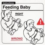 Baby likes milk bottle, chicken leg not so much