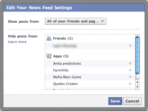 Facebook Feed Settings ablak